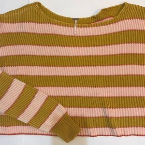 Free People Mustard and Pink Striped Sweater M